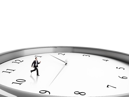 runing: businessman runing in clock on a white background