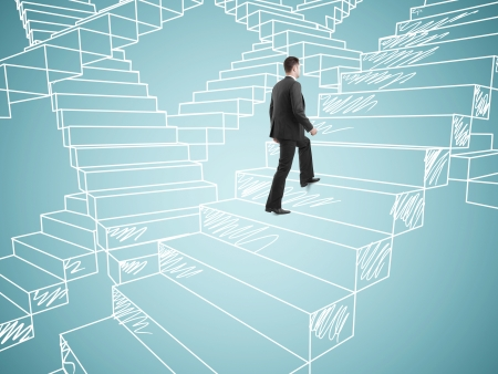 climbing stairs: businessman in suit climbing on drawing stairs