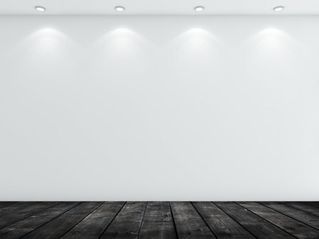 white wood floor: white concrete wall and black wood floor Stock Photo