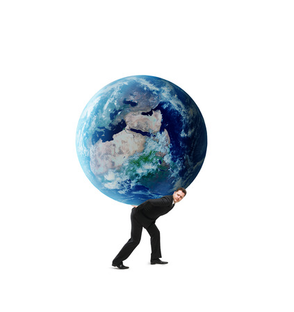 businessman holding earth on a white background photo