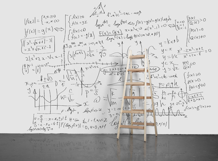 drawing business concept on wall with ladder photo