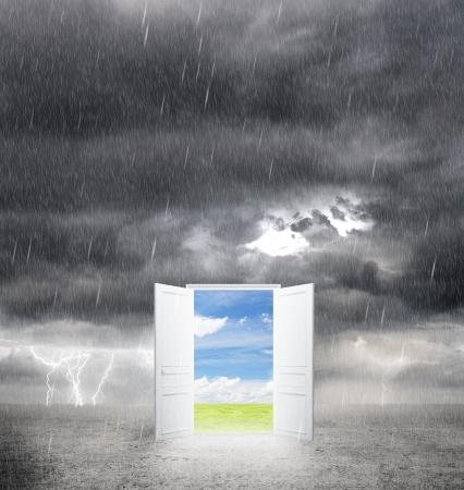 bad weather: door from bad weather to good