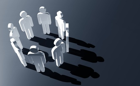 3d people stand in a circle
