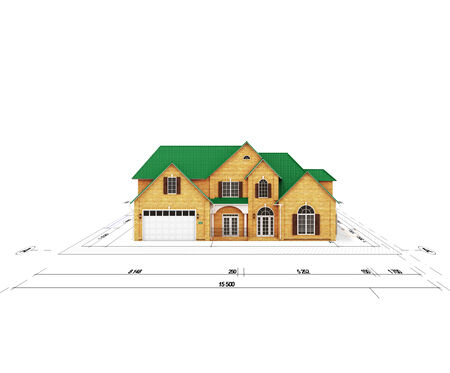 residential structure: blueprint home on a white background