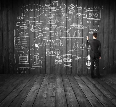 businessman drawing business concept on wooden wall Stock Photo - 24801113