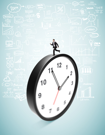 businessman runing on clock on a blue background