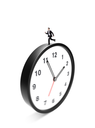 runing: businessman runing on clock on a white background