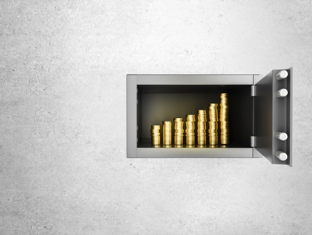 safe money: safe in concrete wall with growth money chart