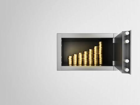 safety box: safe in wall with growth money chart