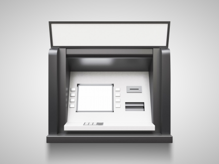 bancomat: atm machine with blank display on a gray background