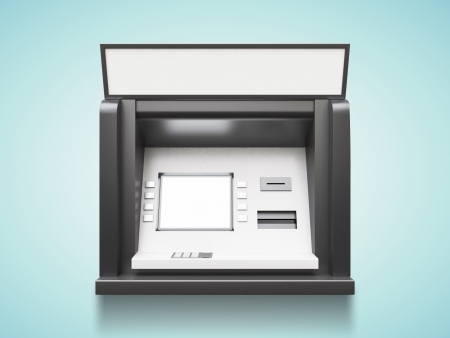 bancomat: atm machine with blank display on a blue background