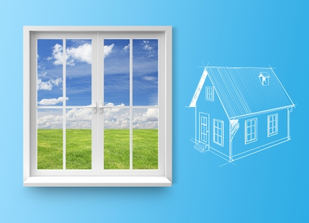 window frame: Modern residential window with lake view and drawing house