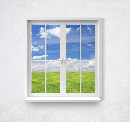 Modern window with lake view in wall photo