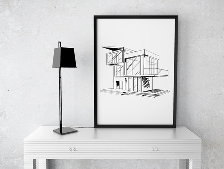 room and frame with drawing house on table photo