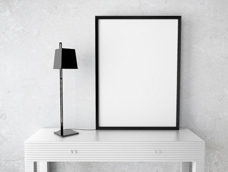marco madera: interior con marco en blanco en la mesa Foto de archivo