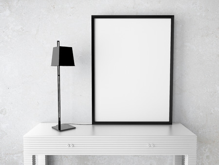 interior with blank  frame on table photo