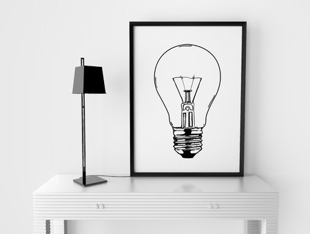 room and frame with drawing bulb on table photo