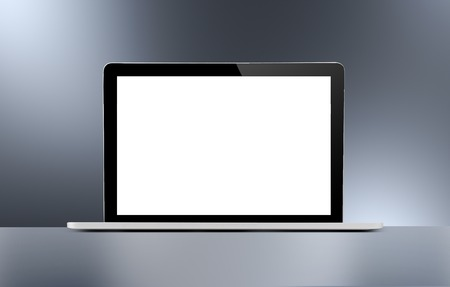 personal computer: 3d render, notebook with blank screen Stock Photo