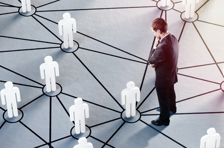 group of people talking in social network photo