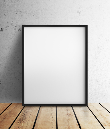 amaged: blank frame hanging on wall