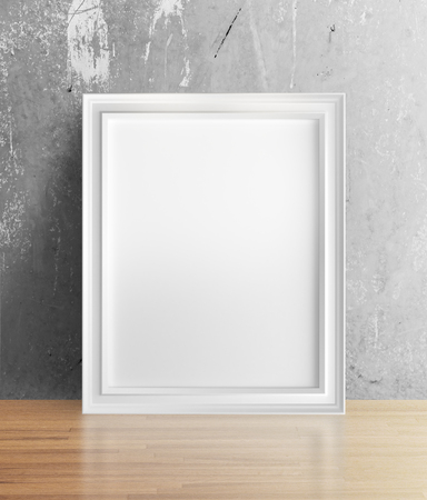 amaged: blank frame standing in room Stock Photo