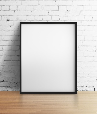 amaged: white frame standing in brick room