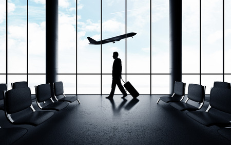 businessman in airport and airplane in sky Stock Photo - 30002357