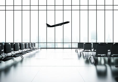 futuristic airport and airplane in window Stock Photo