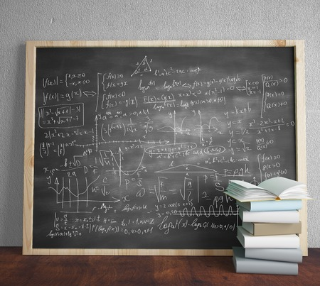 mathematical symbol: black blackboard with drawing mathematical formulas