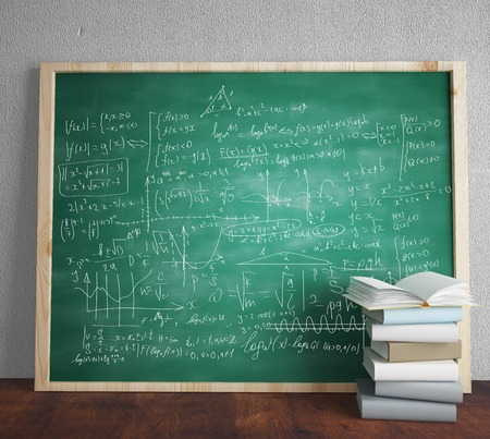 mathematical symbol: green blackboard with drawing mathematical formulas