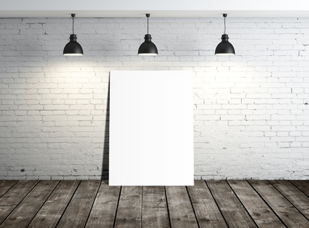 amaged: white blank placard in loft room