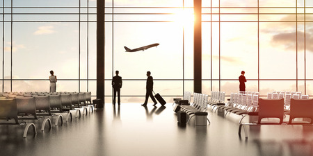 airport with people and airliner in sky Фото со стока