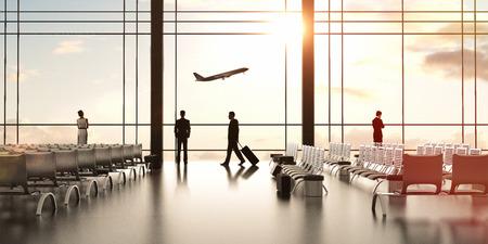 Flughafen mit Menschen und Flugzeug im Himmel