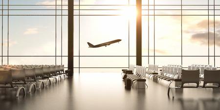 futuristische Flughafen und großen Flugzeug in Fenster