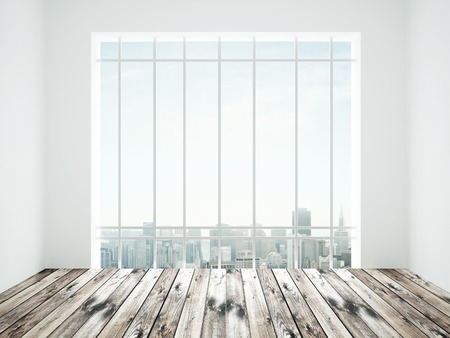 white room with window to city photo