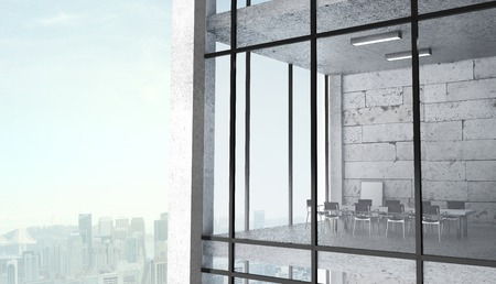 office in skyscraper on city background photo