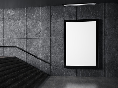 underground passage and white frame on wall