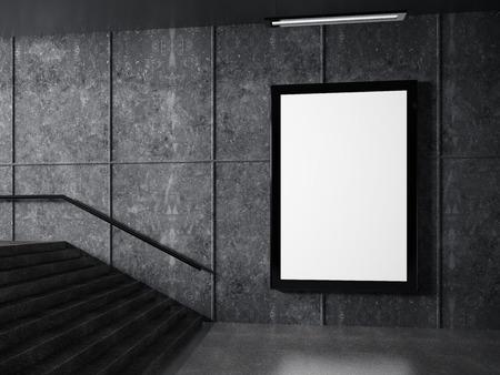 billboard: underground passage and white frame on wall
