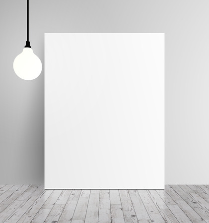 Cartel blanco y la lámpara que cuelga en una pared blanca Foto de archivo - 33246557