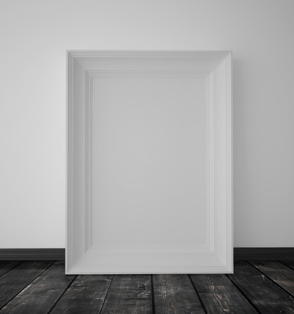 amaged: blank white frame hanging on a wall
