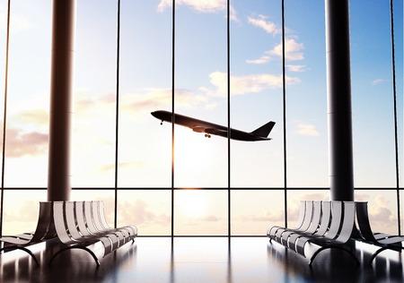 aéroport futuriste et grand avion de ligne dans la fenêtre