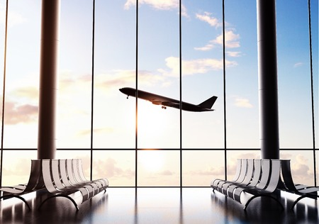 Futuristische luchthaven en grote vliegtuig in raam Stockfoto - 41901525