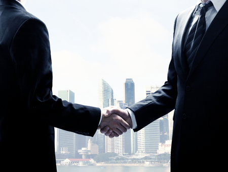 black handshake: two young businessmen shaking hands Stock Photo