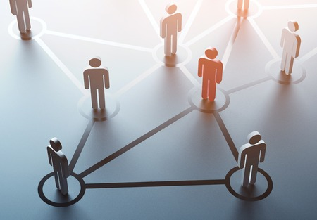 business connections: group of people talking in social network