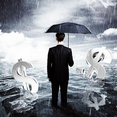 businessman with umbrella business concept Imagens