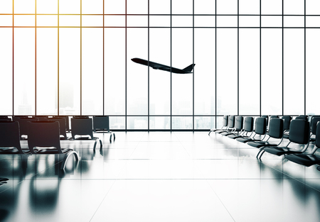 airliner: futuristic airport and big airliner in window Stock Photo