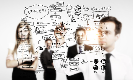 business concepts: man drawing global business concept Stock Photo