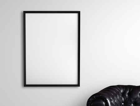amaged: white frame hanging on a gray wall