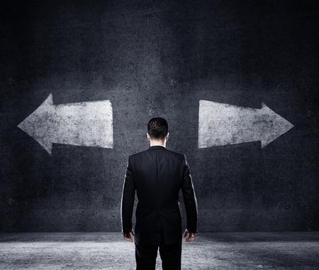 choice: businessman thinking, concept of choice Stock Photo
