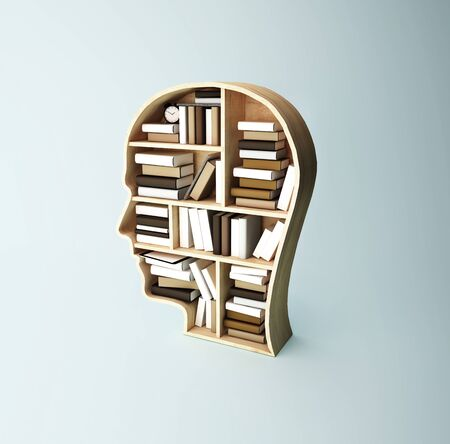 shelf in form of head with book